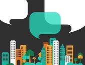 Staden samtal, byggnader och pratbubblor — Stockvektor