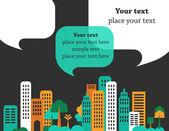 Stad gesprekken, gebouwen en tekstballonnen — Stockvector