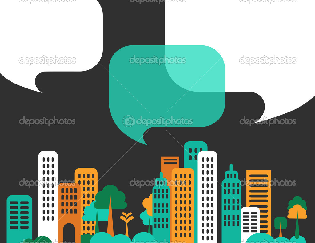 City talks, buildings and speech bubbles. Vector — Stock Vector #11465231