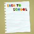 Back to school on wrinkled lined paper. Vector eps 10 — Stock Vector