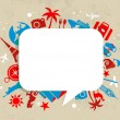 Travel background with speech bubble - Stock Vector