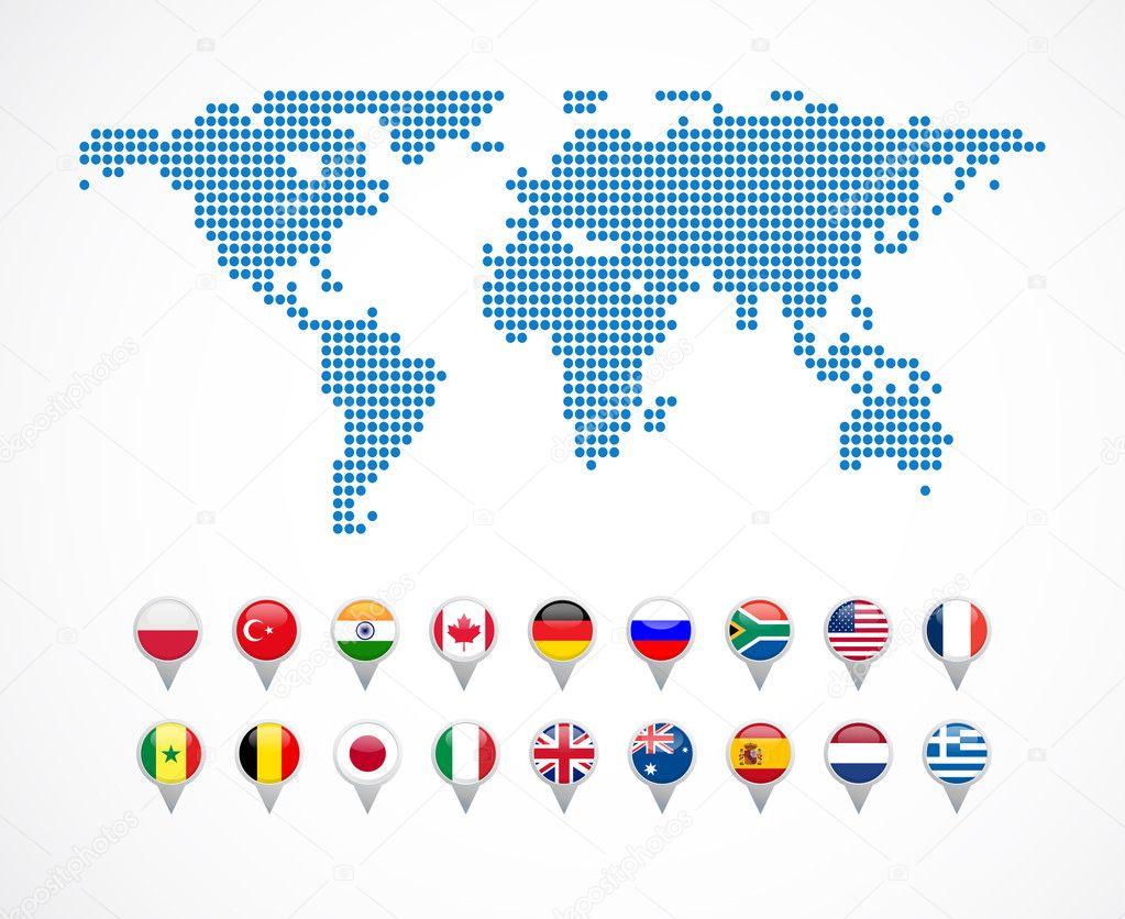 世界地图导航图标的设置,矢量– 图库插图