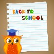 Stock Vector: Back to school on wrinkled lined paper and owl. Vector eps 10