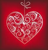 Retrò rosso cuore fantasia — Vettoriale Stock