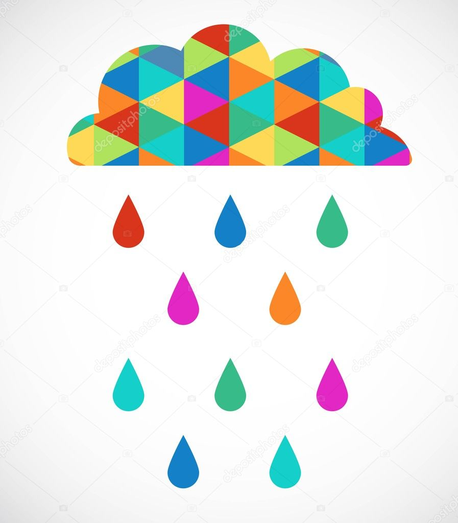 Cloud computing with drops of rain, vector illustration — Stock Vector #11954722