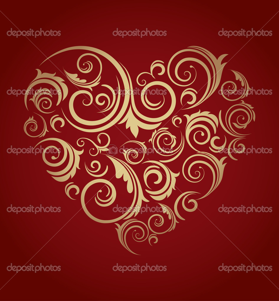 Retro red patterned heart - Valentine's day card — Stock Vector #11954995