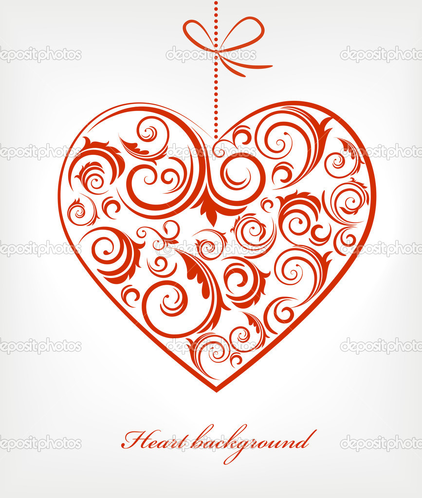 Retro red patterned heart - Valentine's day card — Stock Vector #11955023