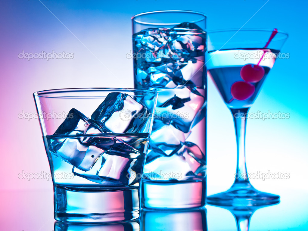 Three cocktails - martini glass, highball and old fashion — Stock Photo #10968475