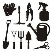 Gardening silhouettes — Stok Vektör