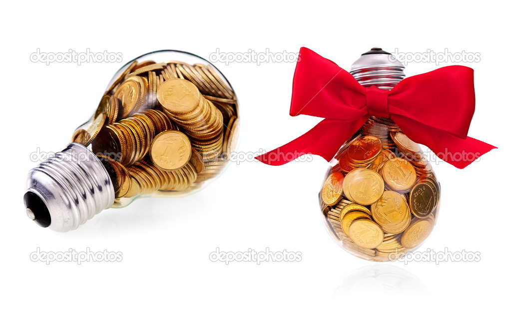 Traditional glass bulb with many golden coins — Stock Photo #11225202