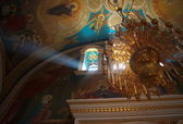 The walls, ceiling and window of the Orthodox temple — Stock Photo