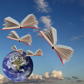 Books are flying — Stock Photo