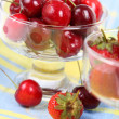 Cherries and strawberries - Stock Photo