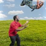 Woman Falling Through the Sky — Stock Photo #10917416