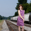Beautiful Woman in a Mod Dress - Stock Photo