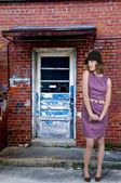 Beautiful Woman in a Mod Dress — Stock Photo