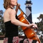 Woman cellist — Stock Photo