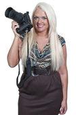 Vrouw-fotograaf — Stockfoto