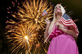 Woman at Fireworks — Stock Photo
