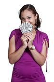 Woman Holding 100 Dollar Bills — Stockfoto