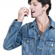 Man Eating an Apple — Stock Photo
