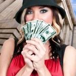 Woman Holding 100 Dollar Bills — Stock Photo #12249765