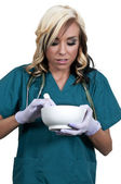 Doctor with Mortar and Pestel — Stock Photo
