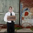 Little Boy Holding Unemployment Sign — Foto de stock #12252337