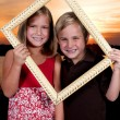 Kids in a Picture Frame — Stock Photo