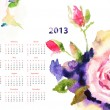 Calendar with Roses flowers — Stock Photo