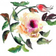 Watercolor illustration of Stylized rose flower — Stock Photo