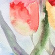 Stock Photo: watercolor background with stylized tulips flowers