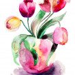 Vase with red Tulips Flowers — Stock Photo
