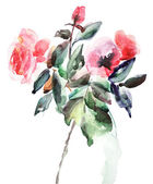 Ilustración decorativa de flores rosas — Foto de Stock