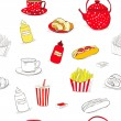 Seamless wallpaper with lot of food — Stock Vector #11453181