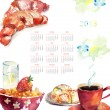 Cup of coffee with buns, Calendar for 2013 - Stock Photo