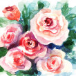 Roses flowers, watercolor painting — Stock Photo #11648289