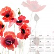 Template for calendar 2013 with poppy flowers - Stock Photo