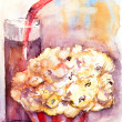 Popcorn with glass of soda drink — Stock Photo