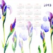 Calendar with Iris flowers — Stock Photo