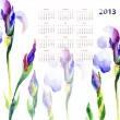 Calendar with Iris flowers — Stock Photo