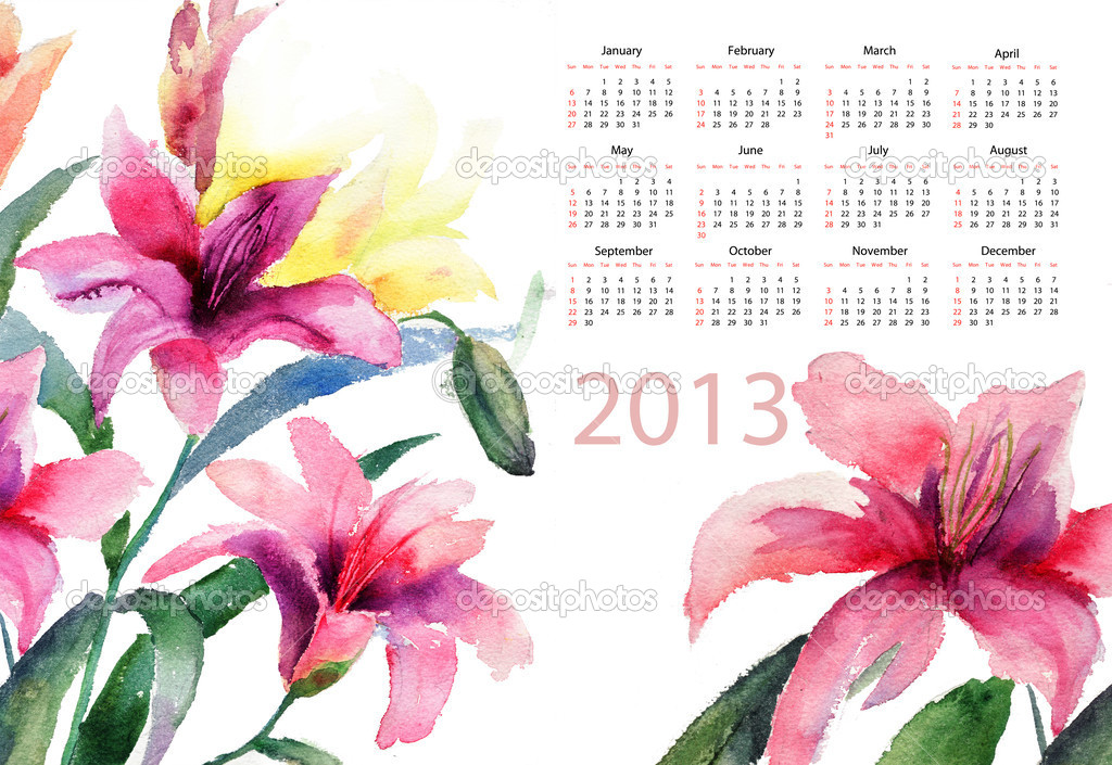 Beautiful Lily flowers, watercolor illustration, calendar for 2013 — Lizenzfreies Foto #11648337