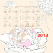 Calendar for 2013 with Peony flowers — Stock Vector
