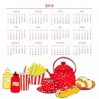 Calendar for 2013 with a lot of food — Stock Vector