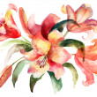 Royalty-Free Stock Photo: Lily flowers, watercolor illustration