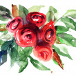 Beautiful Roses flowers, Watercolor painting — Stock Photo #12377639