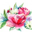Beautiful Roses flowers, Watercolor painting — Stock Photo #12377646