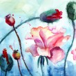 Roses with poppy flowers, Watercolor painting — Stock Photo