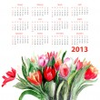 Template for calendar 2013 with Tulips flowers — Stock Photo