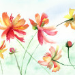 Colorful watercolor illustration with beautiful flowers — Stock Photo